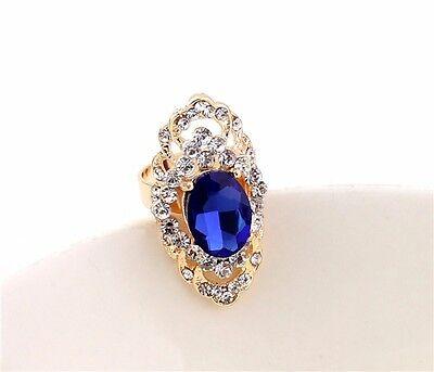 Hot Fashion Jewelry Elegant Crystal Nice Blue Resin Topaz Gold Ring Size #6-10