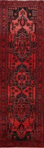 Vintage-Geometric-Traditional-Hand-Knotted-Runner-Rug-Oriental-Wool-Carpet-3x10