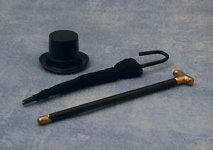 1-12-Scale-Walking-Stick-Umbrella-amp-Top-Hat-Tumdee-Dolls-House-Garden-Cane