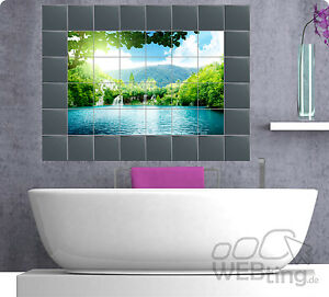 fliesenaufkleber fliesenbild fliesen aufkleber sticker badezimmer bad folie ebay. Black Bedroom Furniture Sets. Home Design Ideas