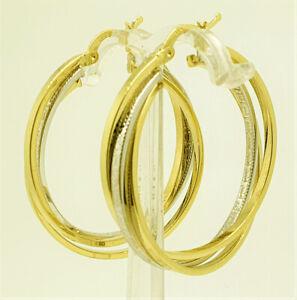Damen-Gold-Creolen-Dreifach-Ohrringe-m-Maeander-muster-585-Gelb-amp-Weissgold-14K