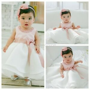 Infant-Baby-Flower-Girl-Formal-Tutu-Dress-Christening-Baptism-Wedding-Party-Gown
