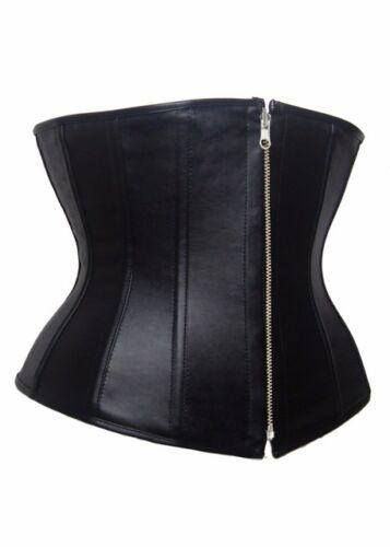 Gothic Women Lace up Faux Leather Corset Bustier Underbust Zipper Waist Cincher