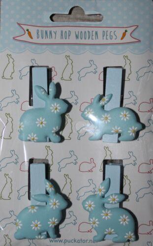 Bunny Hop Wooden Pegs-Lapin de Pâques en bois chevilles pour scrapbooking x 4
