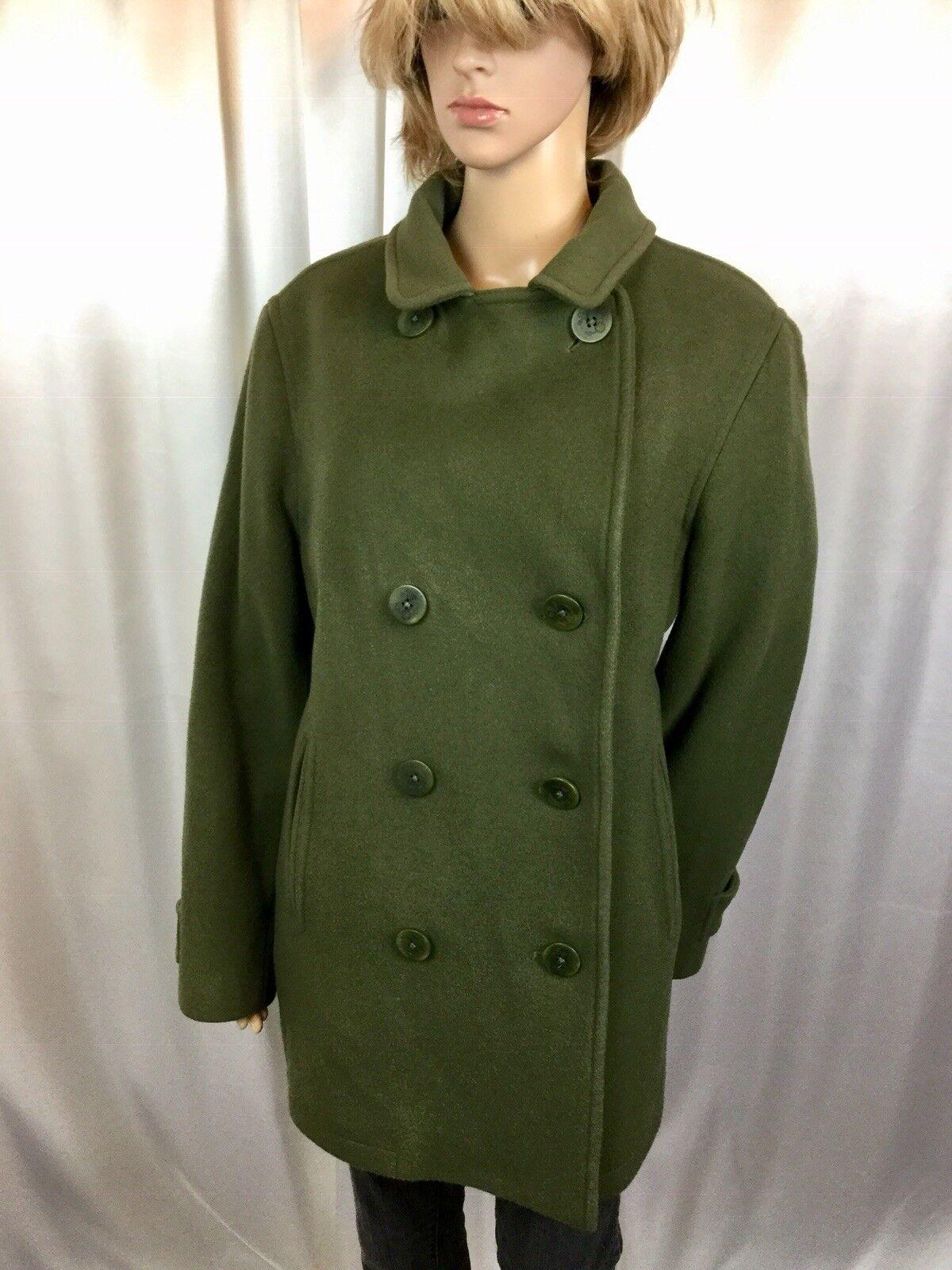 Rare LL BEAN 100% WOOL BELLANDI ITALY Olive Green peacoat overcoat 1X XL