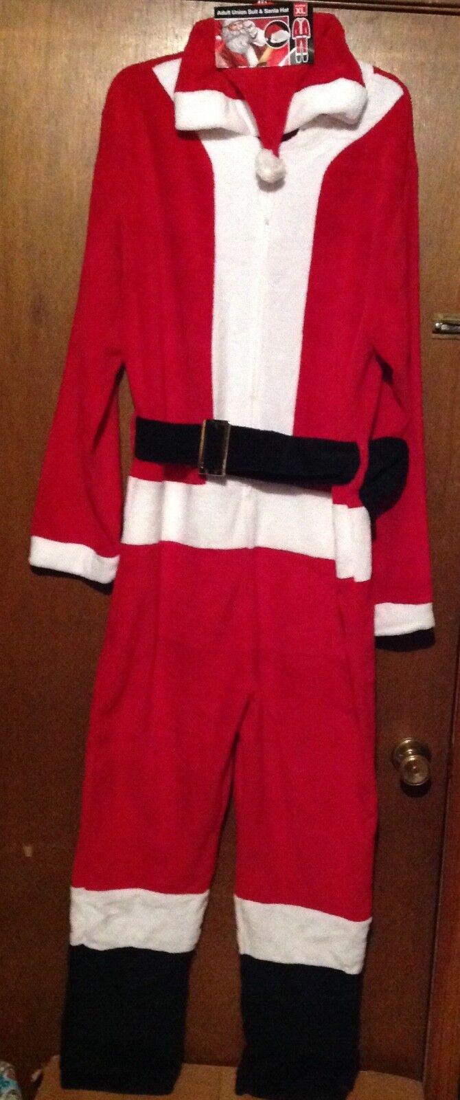 SANTA CHRISTMAS 2 piece UNION SUIT PAJAMA XL and Santa HAT ADULT  XL. Men's NEW