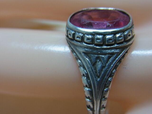 835er silverring mit Rubinkristall Ringgroße 58,5 Ringkopf 13x11mm Ge 4,38 gr