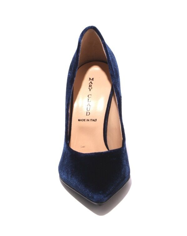 Mary Claud 8054 Navy Velour Velour Velour   Leather Pointy Metal Heel Pumps 40   US 10 f77231
