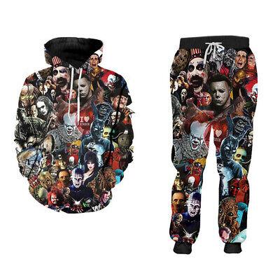 Horror Movies 3D Print Sport jogger pants Casual Hoodies sweatshirt Set