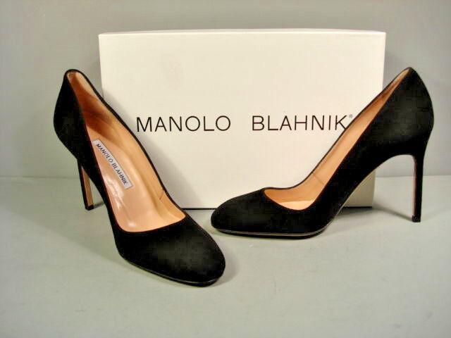 articoli promozionali MANOLO BLAHNIK nero SUEDE BB CLASSIC PUMPS HIGH HEELS HEELS HEELS ROUND TOE 37 7 NEW SALE  prodotto di qualità