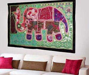 HANDMADE-ELEPHANT-BOHEMIAN-PATCHWORK-WALL-HANGING-EMBROIDERED-TAPESTRY-INDIA-X65