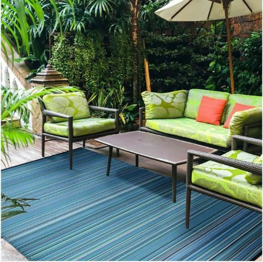 Garden Blue Indoor Outdoor Area Rug