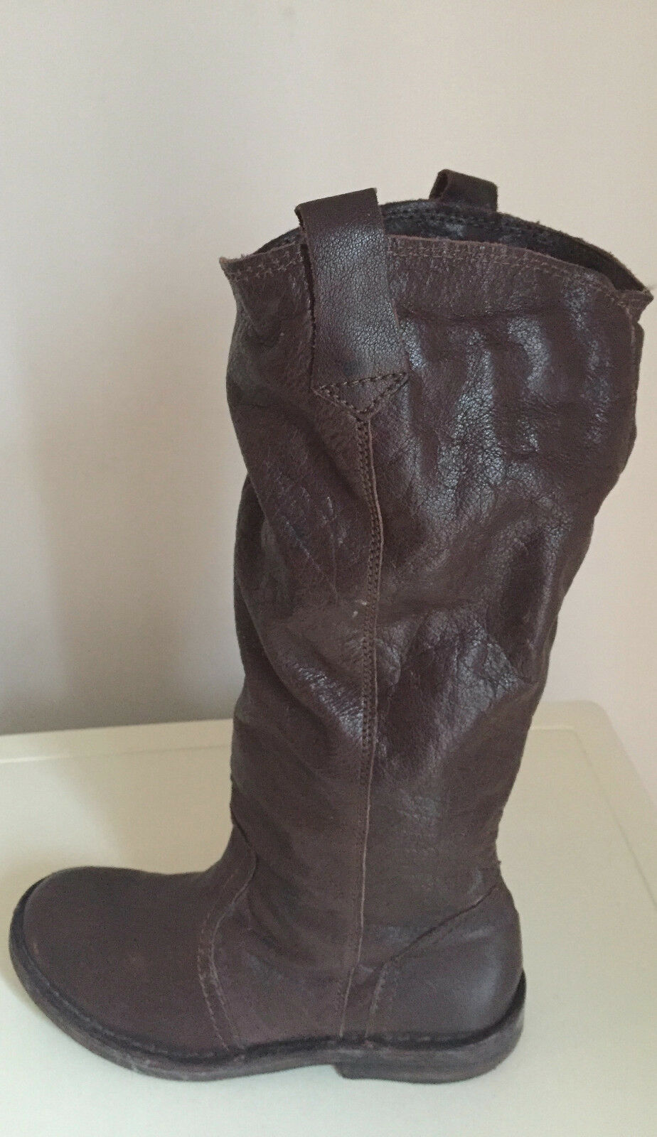 TOPSHOP LADIES LEATHER KNEE HIGH BOOTS WITH KNITTED SOCK EFFECT SIZE 37