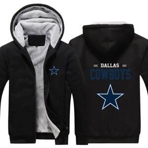 efa4ea59c Image is loading Thick-Hoodie-Dallas-Cowboys-Printed-Long-Sleeve-Zipper-