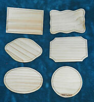 Set Of 6 Unfinished Wood Plaques For Crafts Signs
