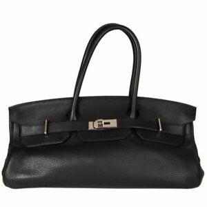 57654 auth HERMES black Taurllon Clemence leather JPG I SHOULDER BIRKIN Bag