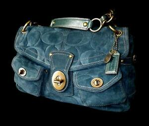 fa6b44f836a2 NEW Coach Leigh Legacy Navy Suede Embossed Large C Shoulder Flap ...
