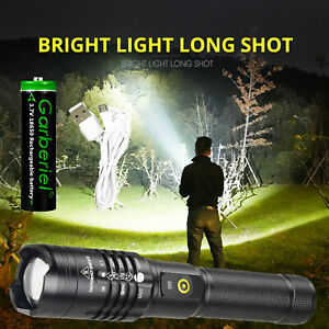 90000LM Super Bright XHP50 LED Tactical Flashlight Zoom USB Rechargeable Torch