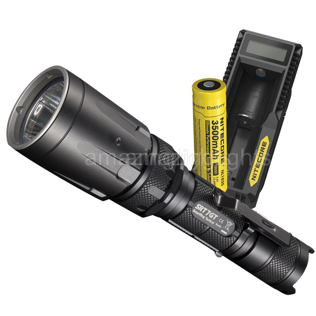 Nitecore SRT7GT rot Grün Blau UV Tactique lampe de poche avec batterie et chargeur