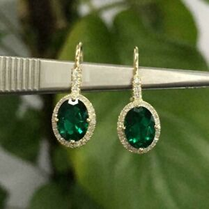2Ct-Oval-Cut-Green-Emerald-Drop-amp-Dangle-Women-039-s-Earrings-14K-Yellow-Gold-Finish