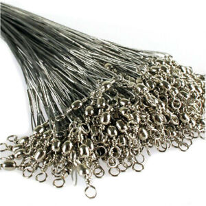 60-Pcs-15cm-20cm-25cm-Fishing-Line-Steel-Wire-Leader-With-Swivel-Fishing-Tackle