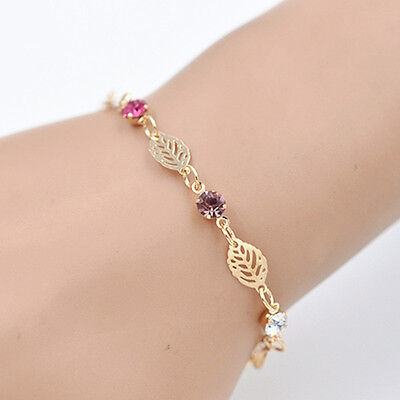 Chic Simple Retro Women Girl Jewelry Rhinestone Leaf Chain Bracelet Bangle Gift