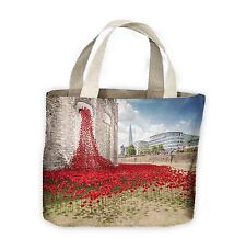 Tower of London Poppies Window View Tote Shopping Bag For Life - Poppy
