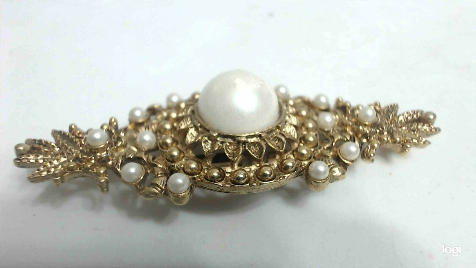 Vintage Baroque Gold Tone Faux Pearl Ornate Bar B… - image 4