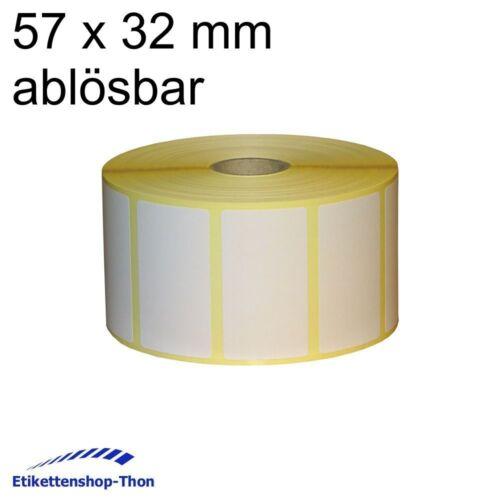 Haftetiketten auf Rolle ABLÖSBAR 57 x 32 mm Thermotransfer 2000 Stück