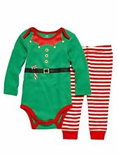 Baby Boys NB 0 3 6 Months Christmas Santa Claus Elves Elf LS Shirt One Piece NEW