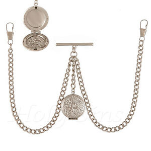 New-Silver-Colour-Double-Albert-Pocket-Watch-Fob-Chain-With-Locket