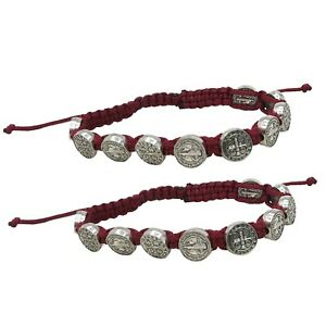 Saint Benedict  Adjustable Red Cord Bracelet with Silver Tone Charms, 2 Pack