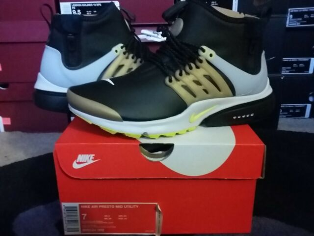 ebbc3c6f729 Nike Air Presto Mid Utility Sneaker Boots Winter Black Yellow Streak 859524  002