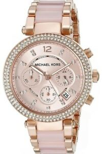 Michael Kors Parker 33mm Rose Gold Dial Stainless Ladies Watch - MK5896