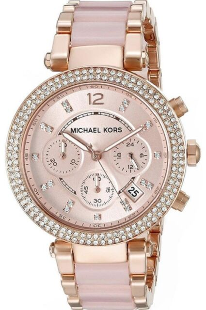 c77373845ce8 Michael Kors Parker Cronógrafo Reloj Mujer MK5896 Dial Rosa Rrp £259.00