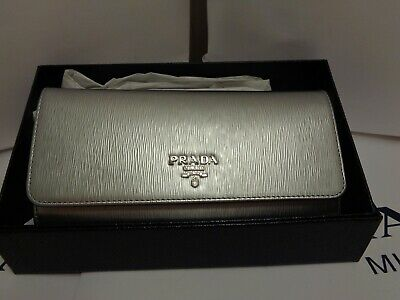e1b1236d3bc0 NWT PRADA Saffiano Leather Long Fold Wallet 1MH132 METALLIC SILVER NEW!