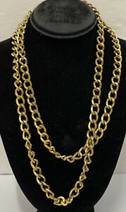 Vintage-Signed-Sarah-Coventry-Gold-Tone-Long-Heavy-Chain-Necklace-Statement