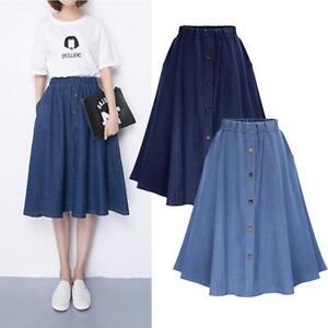 Women-039-s-Jeans-A-line-High-Waist-Long-Midi-Denim-Flare-Party-Skater-Skirt-Dress