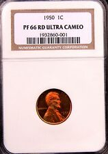 1950 LINCOLN CENT 1C NGC PF66 UCAM PR66 ULTRA DEEP CAMEO PRICE GUIDE = $6,500!