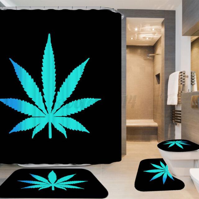 US Waterproof Leaves Shower Curtain Bathroom Non-Slip Toilet Mat Cover Rug Set