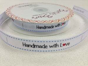 5m-Bertie-039-s-Bows-White-034-Handmade-with-Love-034-Labels-16mm-Grosgrain-Ribbon-Craft