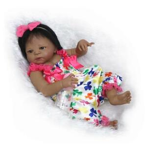 e8487bba4 Black Cute Newborn Baby Girl Silicone Full Body Reborn Doll African ...