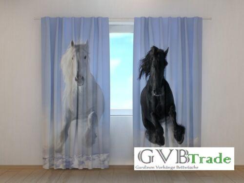 """Fotogardinen /""""Pferde/"""" Fotovorhang Vorhang Gardinen 3D Qualität Bild Auf Maß"""