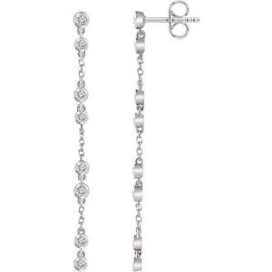 Image Is Loading Diamond Chain Earrings In 14k White Gold 1