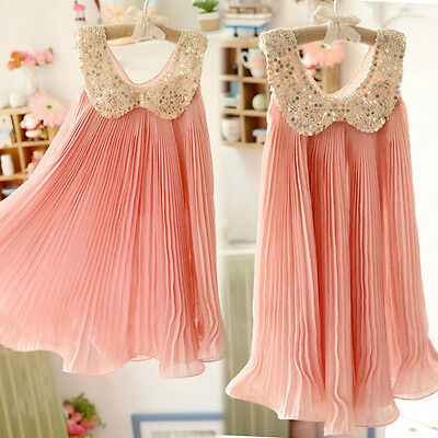 Lovable Girl Dress Summer Pleated Chiffon One-Piece Dress With Lace Collar Child