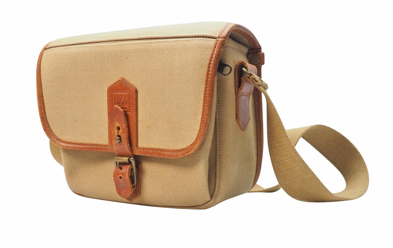 Fogg London Celia Satchel Camera Bag Sand Fabric with Havana Leather