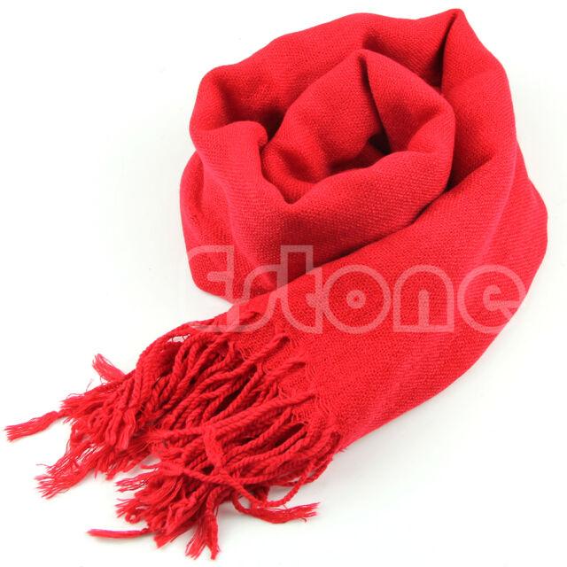 Women Wool Blend Long Scarf Tassels Warm Scarves Soft Wrap Winter Warm Shawl New