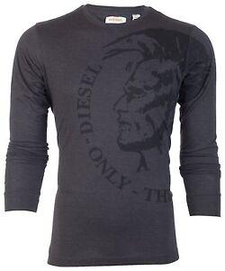 DIESEL-Mens-LONG-SLEEVE-T-Shirt-TRIK-Mohawk-CHARCOAL-Casual-Designer-Jeans-98