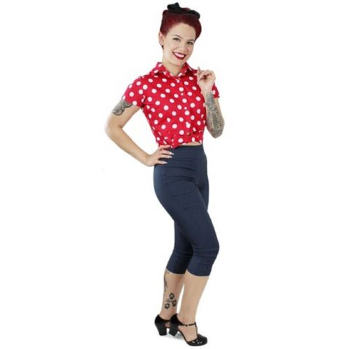 Red Polka Dot Knot Crop Top Snap Up Closure Pin-up Rockabilly 50/'s Inspired