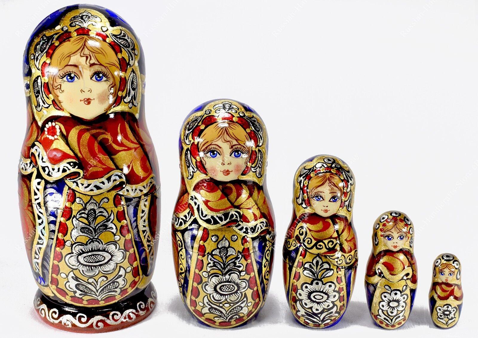 6  Author's Precioso Auténtico Rusas Tradicional Matrioska Muñecas-caja 5pcs
